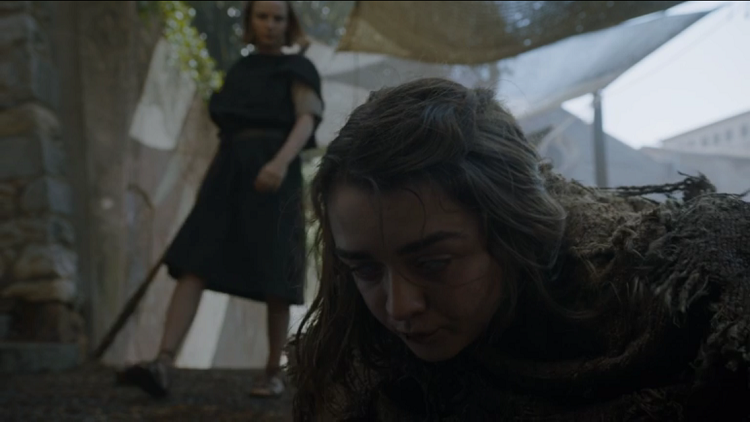 "Arya falls to the Waif in ""The Red Woman"""